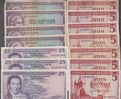 ICELAND Nice lot of 14 pcs old banknotes