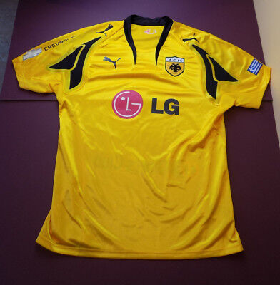 AEK Athens Puma 2007-2008 Home Football Shirt LARGE new without tags yellow LG