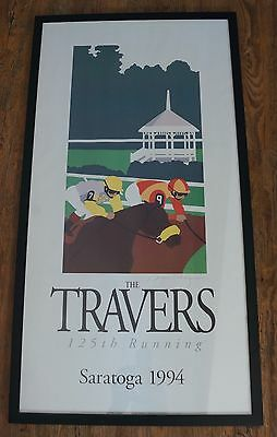 Travers Saratoga 1994 Horse Racing Signed Framed Poster Print Greg Montgomery