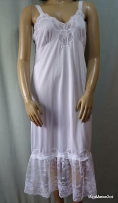 "VINTAGE STYLE SHEER WHITE NYLON & LACE FULL SLIP or NIGHTIE - XXL 44"" BUST"