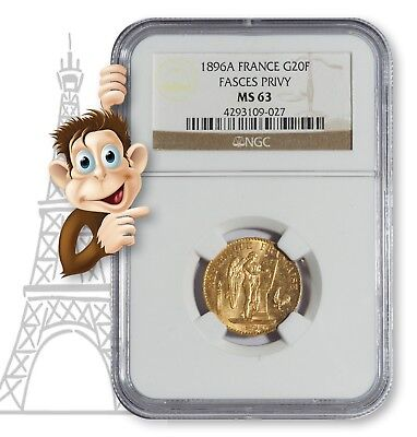 """1896A Gold 20 Franc NGC MS63 -- """"Lucky"""" Angel Coin"""