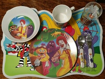 McDonalds Childs Place Setting - Plate, Bowl, Plastic glass, Cup, Silverware