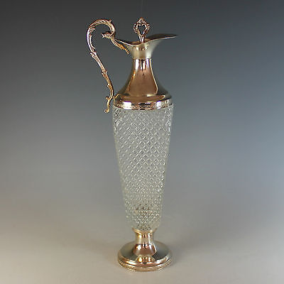 Unusual Italian Silverplate and Cut Glass Claret Jug Carafe Silver Plate