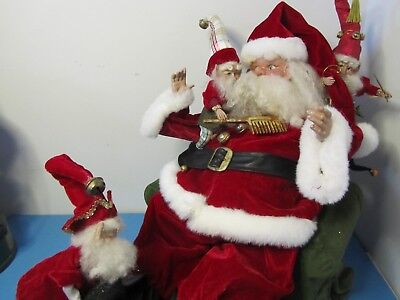 Large Mark Roberts Piece On Wooden Base - SantaAttended By 3 Elves
