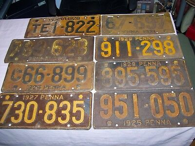 Lot of 8 Old Antique Vintage PA Pennsylvania License Plate Plates 1920's Sign