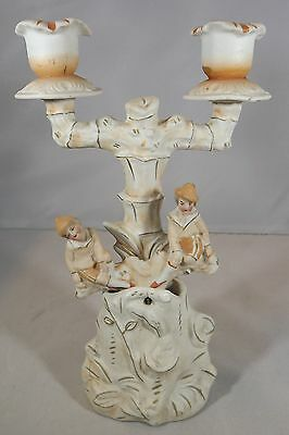 Antique Victorian China Rocking / Nodding Two-Branch Candlestick See-Saw Nodder
