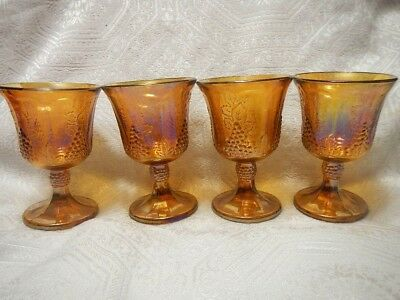 Indiana carnival amber color glass goblets, golden grapes pattern set of 4