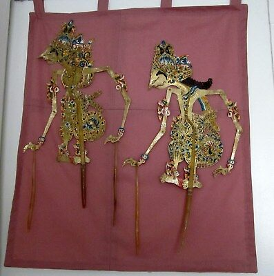 """Oriental Art Wall Hanging Balinese Dancers Painted Paper On Fabric 19.5""""x22"""""""
