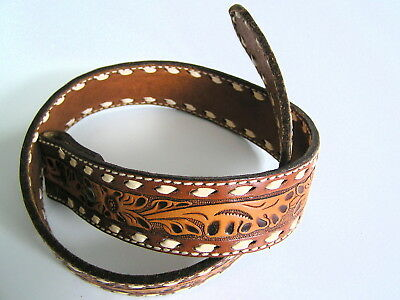 Circle Y Tooled leather Belt Yoakum Texas Size 28 Western Made in USA