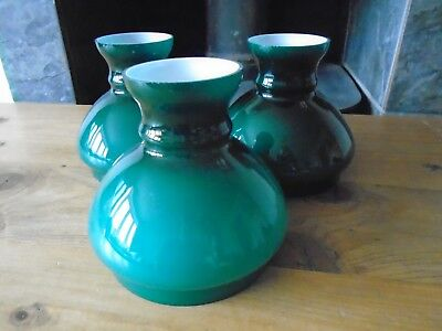 EARLY c 20TH CENTURY TRIO EMERALD GREEN CASE LAMP SHADES VINTAGE