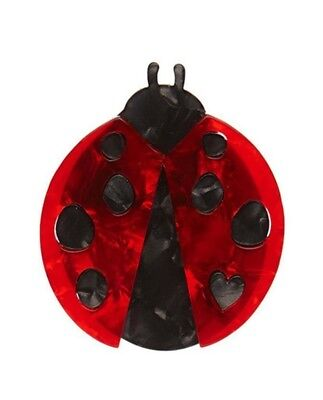 Erstwilder LOU-LOU LADYBUG Pearly Red Black Brooch Brand New Boxed w/Tag RETIRED