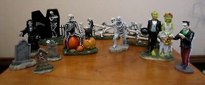 Lot Of 12 Lemax Spooky Town Pieces ~ Coffin ~ Tombstones ~ Bone Fences ~ Mummy +