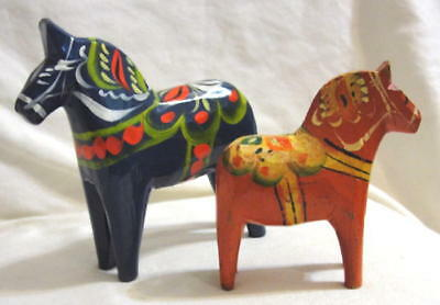 Sweden Swedish Sverige '2' Dala Horses (Dalahâst) Blue & Orange Painted