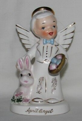 Vintage 1956 NAPCO April Boy Angel A1920 Japan Easter Eggs & Rabbit