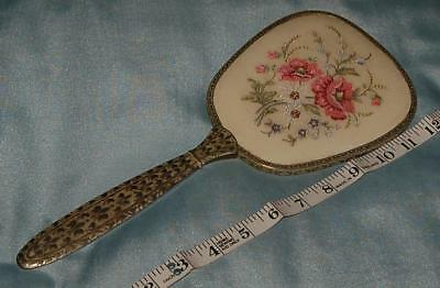 Vintage Hand Mirror Metal Floral Petit Point Panel Poppies Forget me Nots c1960s