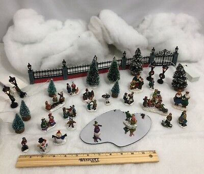HUGE Lot Of 36 Christmas Village Figurines, Accessories, Lighted Posts, Fencing