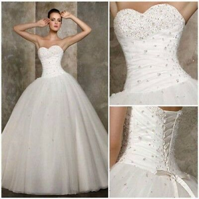 New White Bride Bridesmaid Wedding Gown Prom Ball Dress Size 14