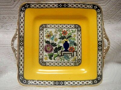 Vintage Coronet English Hand Painted Bone China double-handled square plate