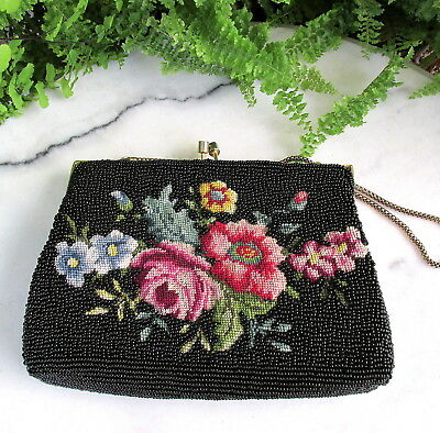 Beautiful  Vintage 1950's Beaded & Petite Point Needle Work Purse Floral Design
