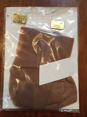 Pair Lucky Charm Size 11 Seamfree Heather Honey Vintage Nylons Stockings New Old