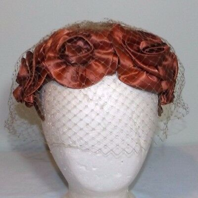 Vtg Cocktail Hat Copper Colored Satin Fabric Roses Birdcage Netting Wedding