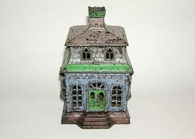 "Scarce Painted Cast Iron ""City Bank w/ Chimney"" 1873 NO RESERVE (DAKOTApaul)"