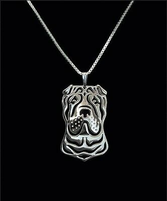 Shar Pei Dog Pendant Necklace Silver Tone ANIMAL RESCUE DONATION