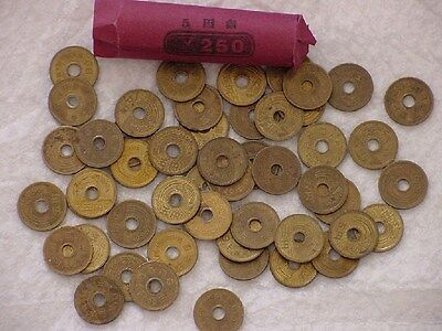 Japan 5 Yen Coin Lot - 100 Japanese ¥5 (5 Yen) Coins - 2 Rolls - Unsearched