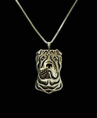 Shar Pei Dog Pendant Necklace Gold Tone ANIMAL RESCUE DONATION