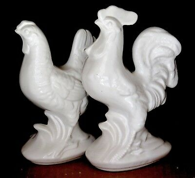 """RARE Royal Copley/Royal Windsor PAIR WHITE rooster and hen 7 1/8"""" 6 1/4"""""""