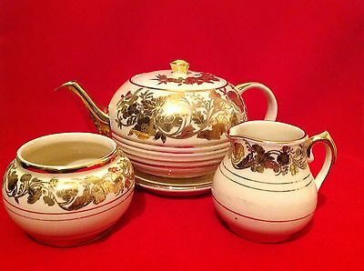 Sadler 1937+ 6 Cup Teapot With Stand, Sugar Bowl And Cream Jug, Cream & Gold