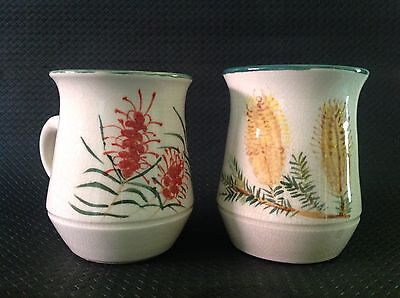 Boyd Possibly ? Bd Signed. 2 Bottlebrush Hand Made, Hand Painted Pottery Mugs.
