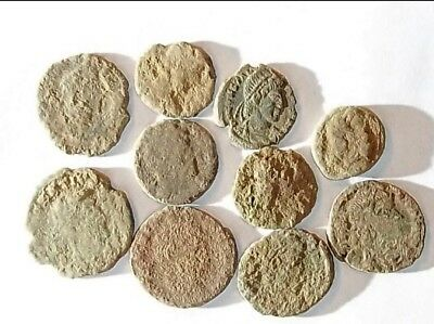 10 ANCIENT ROMAN COINS AE3 - Uncleaned and As Found! - Unique Lot 28803