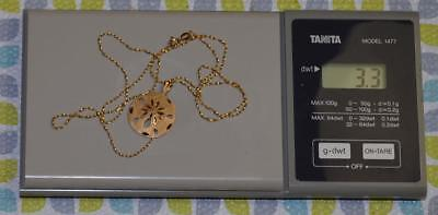 14K Gold - Ladies Sand Dollar Necklace - Scrap or Not -  3.3g - Marked 14K