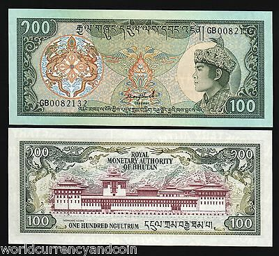 Bhutan 100 Ngultrum P18B 1992 2 Prefix Unc King Dragon Palace Rare Currency Bill