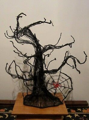 "Spooky Black Wire Halloween Tree ~ 16-1/2"" Tall ~ Spider Web ~ Very Well Made !!"