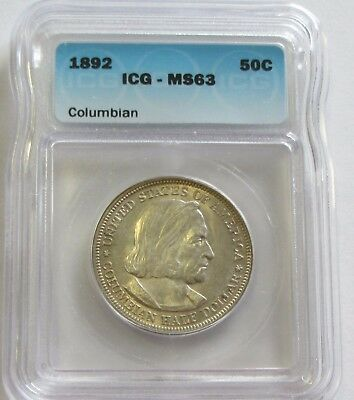 1892 Columbian Expo Commemorative Icg Ms 63