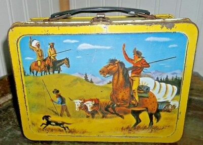 VERY RARE 1959 Pathfinder Western Metal Lunch Box by Universal - Cool Lunchbox!