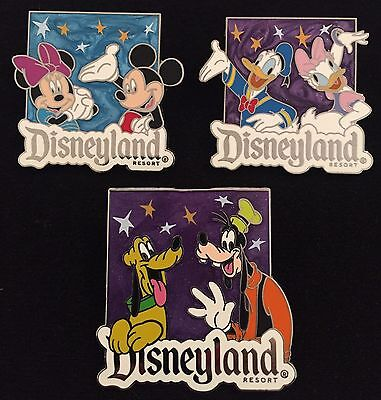 Disney Trading Pin Fab 5 Mickey Mouse Minnie Donald Daisy Pluto Lot Of 3 Pins