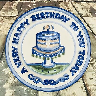"""M A Hadley Pottery A Very Happy Birthday To You Lg Cake Plate 12 3/4"""" Platter"""