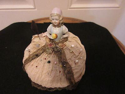 Antique Porcelain Victorian Half Doll Lady Pin Cushion Antique Lace Satin Orig.