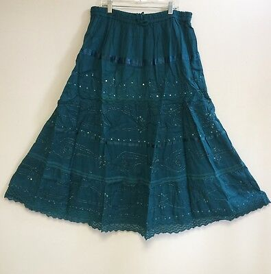 100% Cotton Hippie Boho Lace Trim Tiered Embroidered Peasant Sweep Skirts 1X-3X