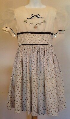 Vintage Inspired Girls Party Dress Sheer Puff Sleeves Floral Fall Lined Sz 8