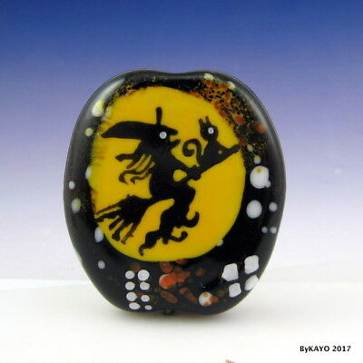 """WITTY WITCH & CITY KITTY"" byKAYO a Handmade Lampwork Art Glass Focal Bead SRA"