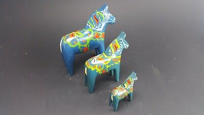"Lot 3 Vintage Nils Olsson Swedish Dala Horse Figurines 2""- 6"""