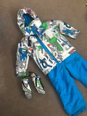 Quiksilver kids boys ski snow pants jacket set and gloves