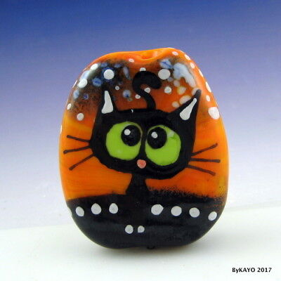 """LOOPY LULU"" byKAYO a Handmade CRAZY CAT Lampwork Art Glass Focal Bead SRA"