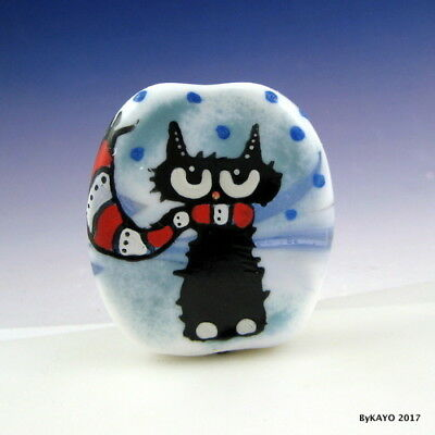 """EASY BREEZY BARNEY"" byKAYO a Handmade SNOWY CAT Lampwork Art Glass Focal Bead"