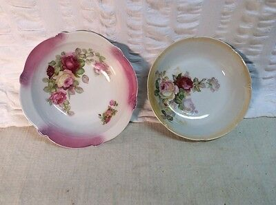 vintage fine porcelain German serving bowl lot of two ~rose floral pattern