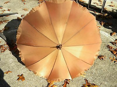 Vintage Victorian Style Parasol With Flowered Lining Oranted Handle